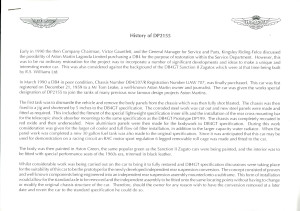Printed document on the history of DP2155