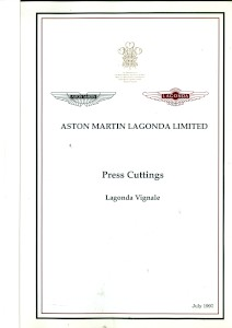 Aston Martin compiled Press Cuttings booklet, 'Lagonda Vignale' 1993