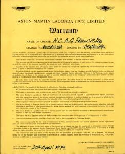 Warranty for V8SOR 12129, dating to 20th April 1979