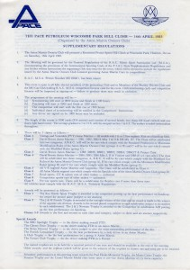 Supplementary Regulations for Wiscombe Park Hill Climb on 16th April 1983