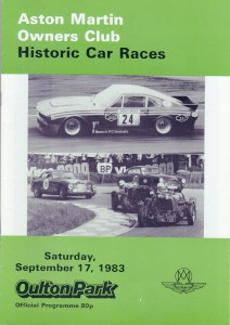 Race Programme for Aston Martin Owners Club Historic Car Races on 17th September 1983