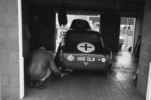 Black and White Negative Strips -Roger Stowers photographs-Silverstone 750 MC 6 Hours.1975,May 17th.Aston Martin and other Historic cars competing on track.