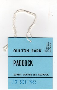 Paddock lapel badge for Aston Martin Owners Club Historic Car Races on 17th September 1983