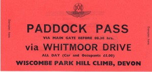 Paddock Pass car sticker for Wiscombe Park Hill Climb 16th & 17th April 1977