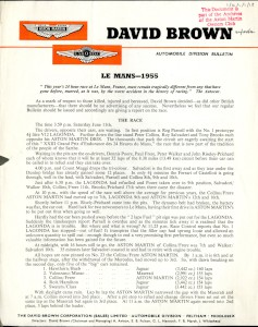 Aston Martin Press Release - 1955 - Le Mans report and result