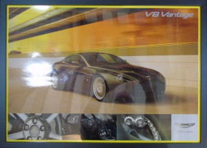 Framed poster of an Aston Martin V8 Vantage in a tunnel