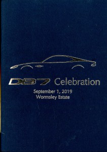 Booklet programme for the DB7 25th Anniversary celebration held at Wormsley Estate, 2019
