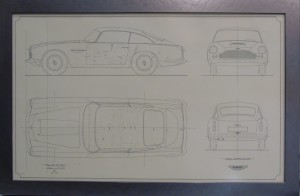 Framed copy of an engineering drawing for the DB4 Saloon