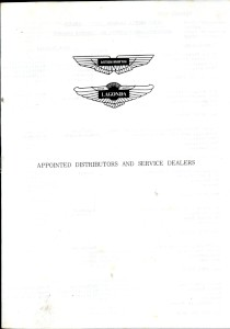 Booklet listing Aston Martin Lagonda Distributors and Dealers