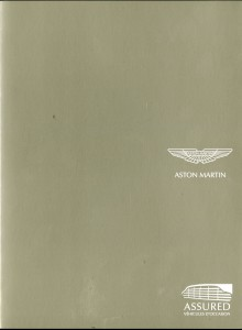 Warranty scheme flyer for Aston Martin Assured - French