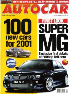 'Autocar' Magazine, 29th November 2000 - '100 New cars for 2001'