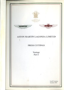 Aston Martin compiled Press Cuttings booklet, 1992 - 'Vantage Part I'