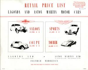 Price list for Lagonda and Aston Martin 2 Litre Sports