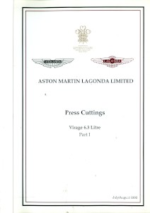 Aston Martin compiled Press Cuttings booklet, 'Virage 6.3 litre - Part I' 1993