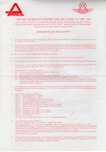 Supplementary Regulations for Wiscombe Park Hill Climb on 17th April 1983