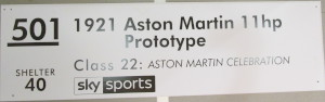 Display board for 'Aston Martin 11hp Prototype' (A3) from the 2019 Goodwood Festival of Speed