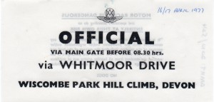 'Official' car sticker for Wiscombe Park Hill Climb 16th & 17th April 1977