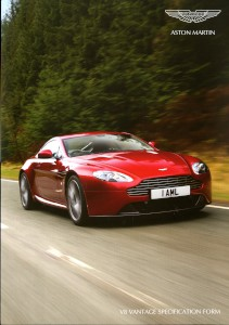 Aston Martin V8 Vantage Specification form