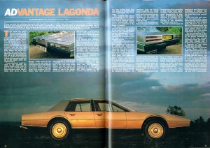 Article: 'V8 Lagonda and V8 Vantage', from 'Men Only' Magazine, February 1978