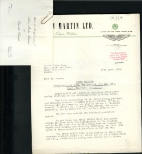 Aston Martin Press Release - 1951 - Silverstone Production Sports Car race entry