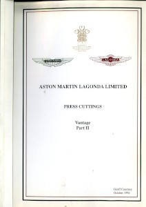 Aston Martin compiled Press Cuttings booklet, 1992 - 'Vantage Part II'