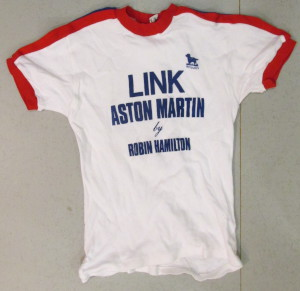 White T-Shirt with 'Link Aston Martin by Robin Hamilton' on Front