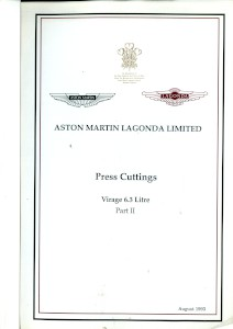 Aston Martin compiled Press Cuttings booklet, 'Virage 6.3 litre - Part II' 1993