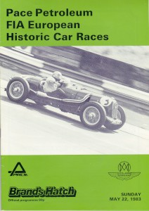 Race programme for FIA European Historic Car Races on 22nd May 1983