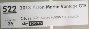 Display board for '2018 Aston Martin Vantage GTE' from the 2019 Goodwood Festival of Speed