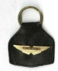 Black leather key ring with AM wings