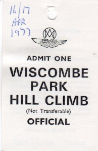'Official' lapel swing label for Wiscombe Park Hill Climb 17th April 1977