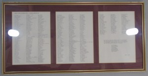Framed Documents - a list of the donors to the Aston Martin Owners Club Premises Fund, 1988