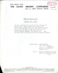 Aston Martin Press Release - 1955 - Entry in the Swedish Grand Prix