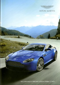 Aston Martin V8 Vantage S Specification form