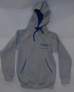 Official Aston Martin child's 'hoodie' fleece, with a V12 Vantage on the back.