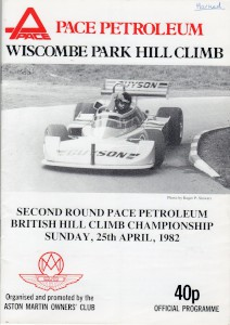 Race Programme for the Wiscombe Park Hill Climb 24th & 25th April 1982