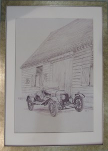 Framed print of Aston Martin 'A3', the oldest Aston Martin still in existance, outside the Barn, Drayton St Leonard 2010.