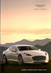 Aston Martin Rapide S Specification form
