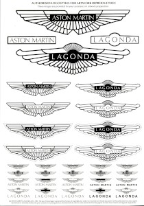 Authorised Aston Martin and Lagonda logostyles for artwork reproduction