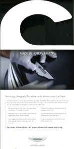 Hanging leaflet promoting Aston Martin-approved servicing, 2014.