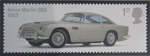 Large scale mockup of the Aston Martin DB5 stamp