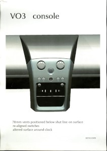 Set of four CAD printouts for the centre console of the Aston Martin V12 Vanquish (2001-2007 model).