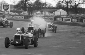 Black and White Negative Strips -Roger Stowers photographs - Silverstone VSCC  Meeting April 19th 1975. Team Car LM 10 , MV 2793 competing on track.
