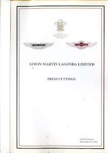 Aston Martin compiled Press Cuttings booklet, 1992