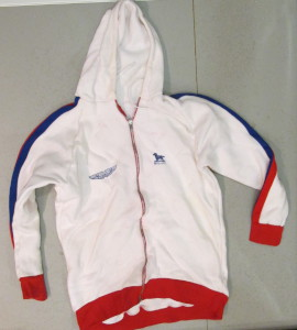 White hoodie with 'Link Aston Martin by Robin Hamilton' on back
