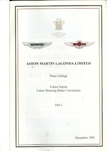 Aston Martin compiled Press Cuttings booklet, '4-door Saloon. 5-door shooting Brake Conversions - Part I' 1993