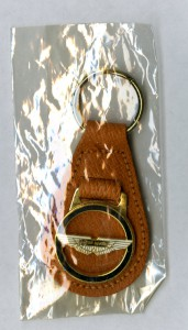Brown leather key ring with Aston Martin logo