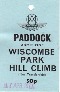 'Official' lapel swing label for Wiscombe Park Hill Climb 16th & 17th April 1977