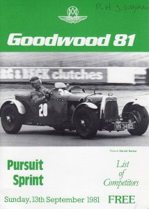 Race Programme for Goodwood 81 Pursuit Sprint on 13th September 1981