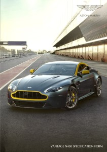Aston Martin V8 Vantage N430 Specification form